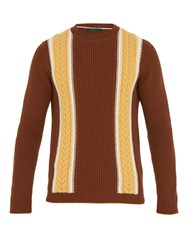 Prada Contrast Stripe Wool And Cashmere Blend Sweater Brown