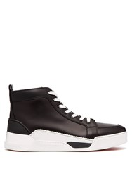 Christian Louboutin Rankick Rubber Panelled High Top Leather Trainers Black