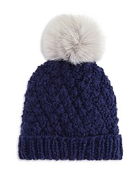 Nor La Knit Beanie With Faux Fur Pom Pom Compare At 59.50 Navy Gray
