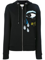 Iceberg Sequins Eye Hooded Cardigan Black