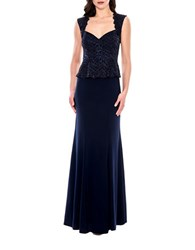 Decode 1.8 Sleeveless Peplum Bodice Gown Navy