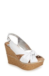 Love And Liberty Women's 'Audra' Slingback Wedge White Leather