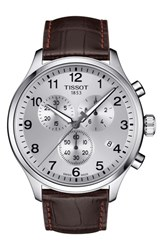Tissot T Sport Chronograph Leather Strap Watch 45Mm Brown Silver