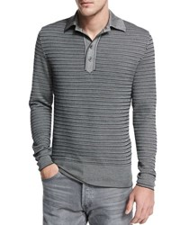 Tom Ford Striped Micro Dot Long Sleeve Polo Black