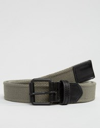 Asos Woven Belt With Black Coated Buckle Khaki Green