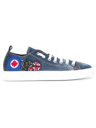 Dsquared2 Patched Denim Trainers Blue