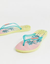 Havaianas Slim Flip Flops In Tropical Palm Print Yellow