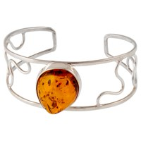 Be Jewelled Sterling Silver Amber Open Work Cuff Silver Orange