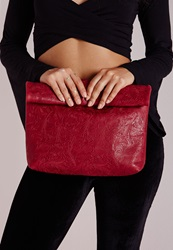 Missguided Oversize Roll Top Clutch Bag Red Scott