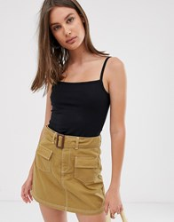 Weekday Square Neck Cami Top In Black