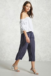 Forever 21 Contemporary Pinstripe Culottes Navy Ivory