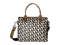 Orla Kiely Matt Laminated Baby Bunny Print Zip Messenger Black Handbags