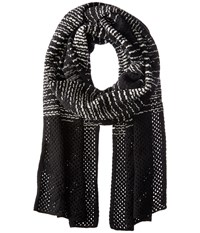 M Missoni Spacedye Scarf With Solid Border Black Scarves