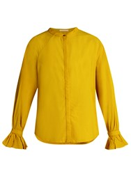 Bliss And Mischief Ruffled Cuff Poplin Blouse Yellow