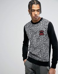 Love Moschino Leopard Print Jumper Black