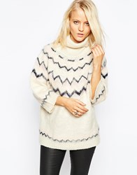 Ax Paris Box Sleeve Jumper With Zig Zag Pink