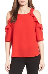 Gibson Women's Cold Shoulder Top Red