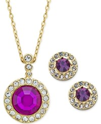 Charter Club Gold Tone Purple Crystal And Pave Pendant Necklace And Stud Earrings Set Only At Macy's