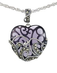 Lord And Taylor Marcasite Heart Pendant Necklace Purple