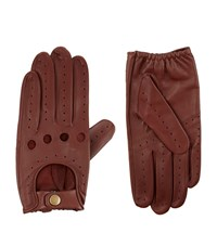 Harrods Of London Leather Driving Gloves Unisex Brown