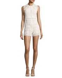 Alexis Makenna Sleeveless Lace Romper White