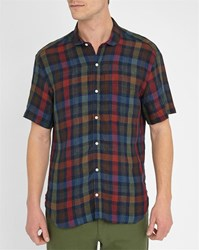 Oliver Spencer Red Green Eton Checked Round Neck Ss Linen Shirt