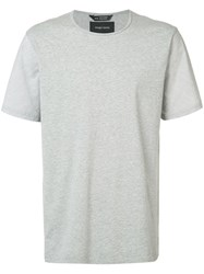 Wings Horns Round Neck T Shirt Grey