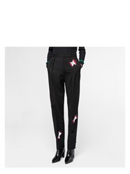 Paul Smith Women's Black Pleated Trousers With 'Apple' Embellishments