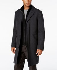 Cole Haan Men's Twill Bibby Overcoat Charcoal
