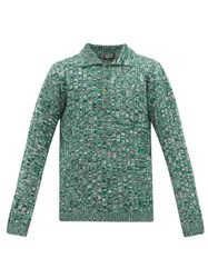 Joseph Variegated Ribbed Cotton Blend Sweater Green Multi