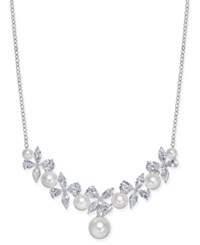 Danori Silver Tone Imitation Pearl And Crystal Pave Statement Necklace 16 2 Extender Created For Macy's Rhodium