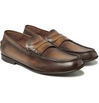 Berluti Polished Leather Penny Loafers Brown