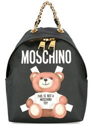 Moschino Toy Bear Paper Cut Out Print Backpack Black