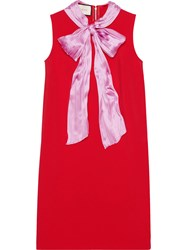 Gucci Stretch Viscose Dress With Bow Women Silk Nylon Viscose M Red