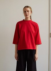 Blue Blue Japan Cotton Cashmere Piped Oversized Half Sleeve Tee Red