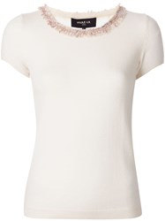 Paule Ka Fringed Neck Knitted Top White