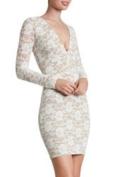 Dress The Population Women's 'Erica' Plunge Neck Lace Body Con Ivory Nude