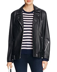 Alexander Wang T By Oversized Leather Moto Jacket Black