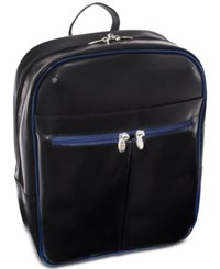 Mcklein Edison 20 Leather Laptop Backpack Black Navy Trim