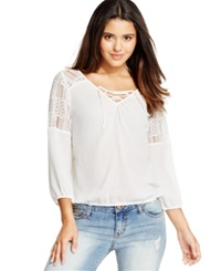 American Rag Lace Trimmed Peasant Blouse Only At Macy's Egret