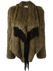 Yves Salomon Meteo By Draped Effect Fringed Coat Nude And Neutrals
