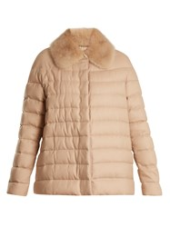 Moncler Gamme Rouge Champlain Fur Trimmed Quilted Down Cashmere Jacket Camel