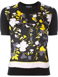 Salvatore Ferragamo Floral Print Knit T Shirt Black