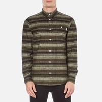 Carhartt Men's Long Sleeve Printed Shirt Green Stone Wash