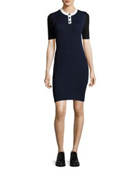 Courreges Ribbed Knit Elbow Sleeve Dress Multi
