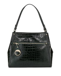 Class Roberto Cavalli Anais Medium Croc Embossed Leather Tote Bag Dark Green