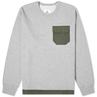 Reigning Champ Nylon Patch Crew Sweat Grey