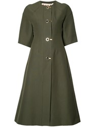 Marni Single Breasted Coat Green