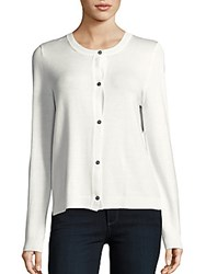 Saks Fifth Avenue Long Sleeve Ribbed Cardigan White Cap