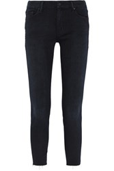 Mother Looker Frayed High Rise Skinny Jeans Black